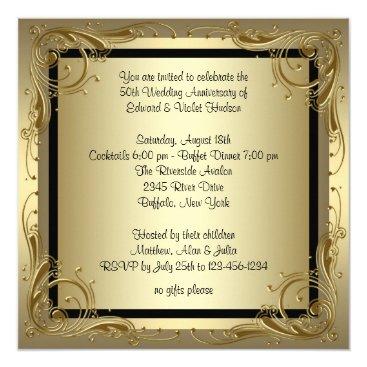 anniversarie Elegant Gold 50th Wedding Anniversary Party Card