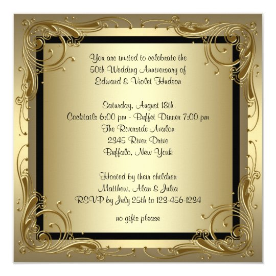 Elegant Gold 50th Wedding Anniversary Party Card Zazzle Com