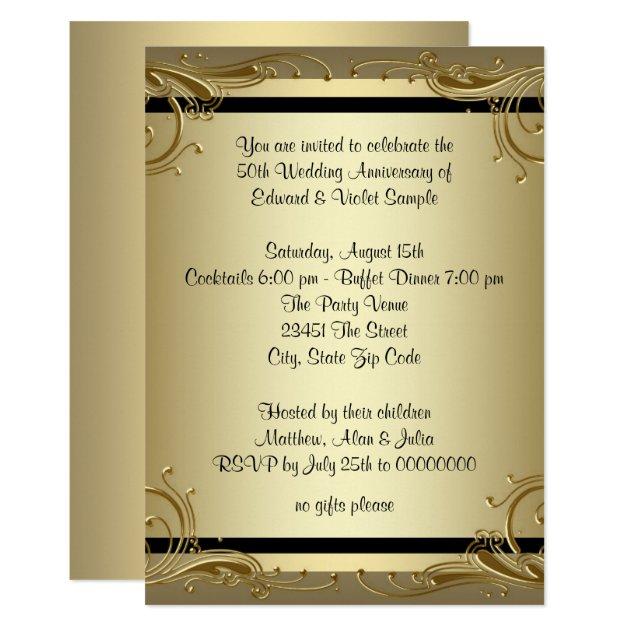 Elegant Gold 50th Wedding Anniversary Party Card Zazzle Com