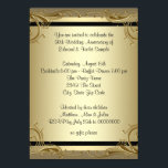 """Elegant Gold 50th Wedding Anniversary Party Card<br><div class=""""desc"""">Beautiful gold swirls gold 50th wedding anniversary party invitation. This elegant black and gold swirls gold 50th wedding anniversary party invitation is easily customized for your event by adding your event details,  font style,  font size &amp; color,  and wording.</div>"""