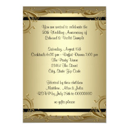 50th anniversary cards greeting photo cards zazzle elegant gold 50th wedding anniversary party card stopboris Gallery