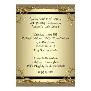 50th wedding anniversary invitations zazzle elegant gold 50th wedding anniversary party card stopboris Images