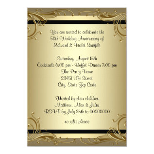 Elegant Gold 50th Wedding Anniversary Party Card at Zazzle