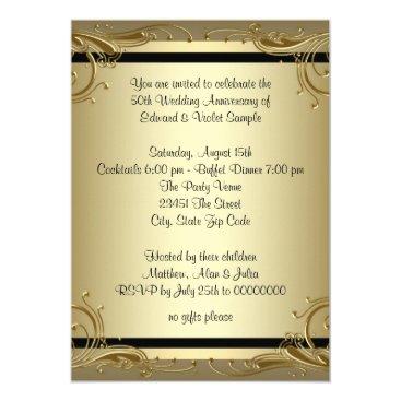 InvitationCentral Elegant Gold 50th Wedding Anniversary Party Card