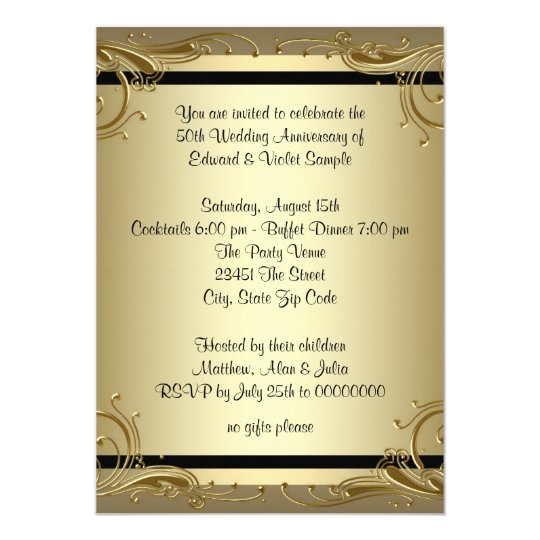 elegant gold 50th wedding anniversary party card zazzle