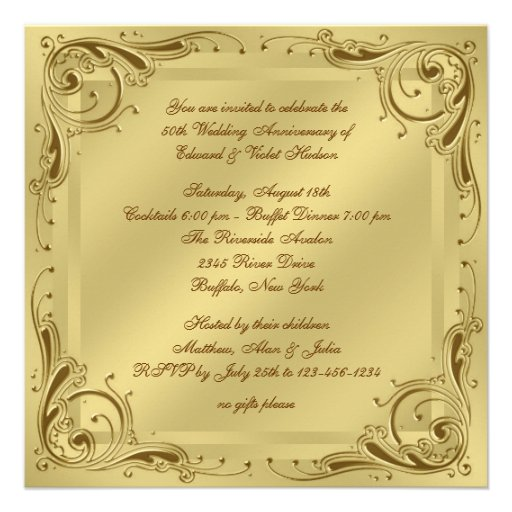 Elegant Gold 50th Wedding Anniversary Party Personalized Announcements