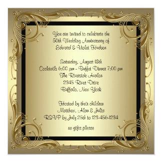 Elegant Gold 50th Wedding Anniversary Party Custom Announcement