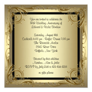 50th anniversary wedding invitations zazzle elegant gold 50th wedding anniversary party invitation stopboris Image collections