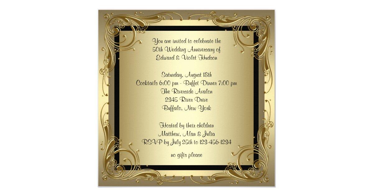 Elegant Gold 50th Wedding Anniversary Party Invitation   Zazzle.com