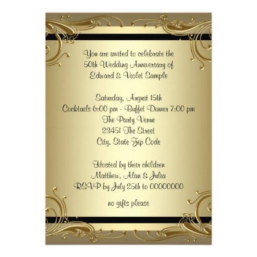 Elegant Gold 50th Wedding Anniversary Party Invitations