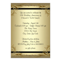 Elegant Gold 50th Wedding Anniversary Party Invitation