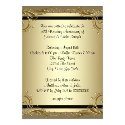 Gold swirls gold 50th wedding anniversary party invitation zazzle stopboris Image collections
