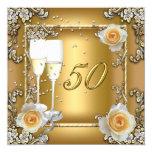 "Elegant Gold 50th Wedding Anniversary Party 5.25"" Square Invitation Card"