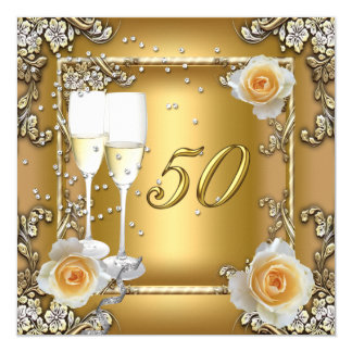 Elegant Gold 50th Wedding Anniversary Party 5.25x5.25 Square Paper Invitation Card