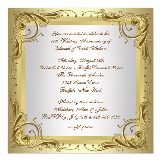 Elegant Gold 50th Wedding Anniversary Party Personalized Invites
