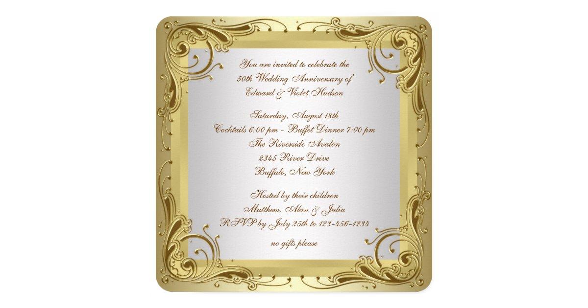 Elegant Gold 50th Wedding Anniversary Party Invitation ...