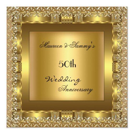 Elegant Gold 50th Wedding Anniversary Party 5.25x5.25 Square Paper Invitation Card