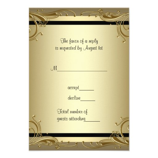 "Elegant Gold 50th Wedding Anniversary Party RSVP 3.5"" X 5"" Invitation Card 