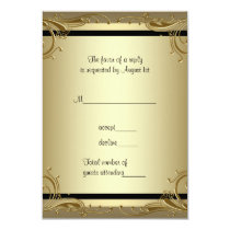 Elegant Gold 50th Wedding Anniversary Party RSVP 3.5x5 Paper Invitation Card
