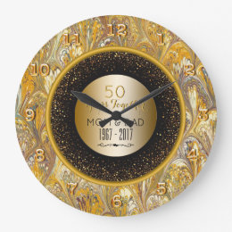 Elegant Gold 50th Wedding Anniversary Personalized Large Clock