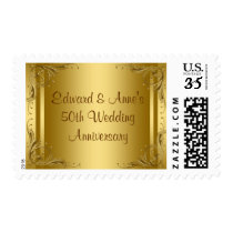 Elegant Gold 50th Wedding Anniversary Postage