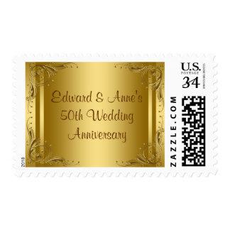 Elegant Gold 50th Wedding Anniversary Stamps