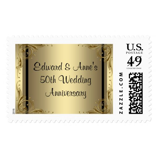 Golden Wedding Anniversary Gift Experiences : Elegant Gold 50th Wedding Anniversary Postage Zazzle