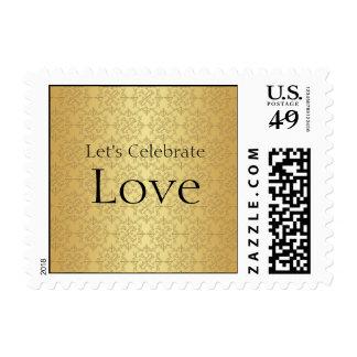 Elegant Gold 50th Wedding Anniversary Stamp