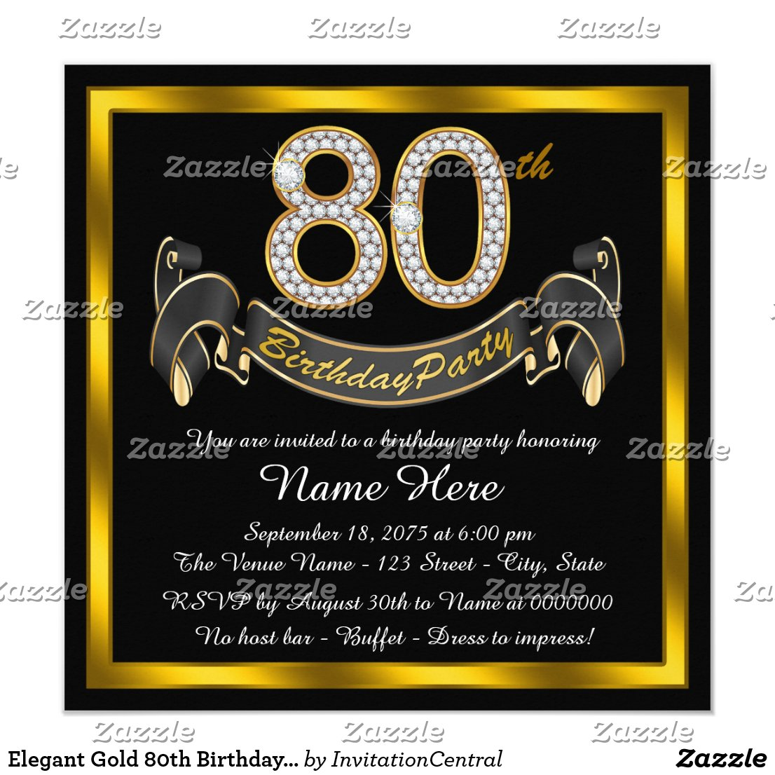 Elegant Gold 80th Birthday Party Card