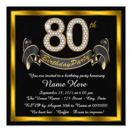 80th birthday invitations announcements zazzle elegant gold 80th birthday party card filmwisefo Gallery