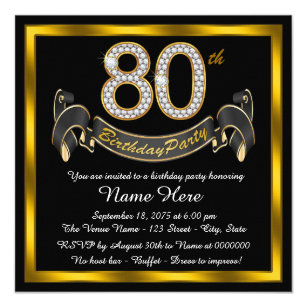 80th birthday invitations announcements zazzle elegant gold 80th birthday party card filmwisefo Image collections