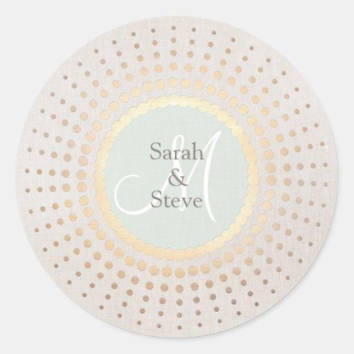 Elegant Gold and Beige Wedding Name Round Sticker