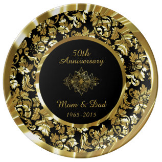 Elegant Gold And Black 50th Wedding Anniversary Dinner Plate at Zazzle