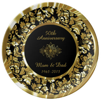 Elegant Gold And Black 50th Wedding Anniversary Dinner Plate