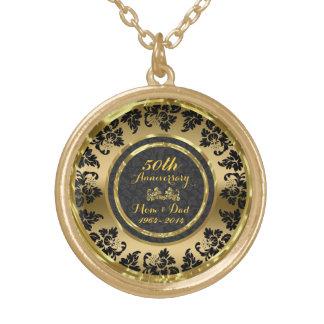 Elegant Gold And Black 50th Wedding Anniversary Round Pendant Necklace