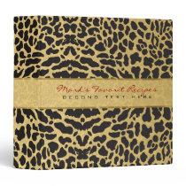 Elegant Gold And Black Animal Print 3 Ring Binder