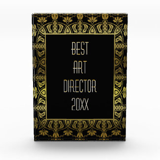 Elegant gold and black border customizable award