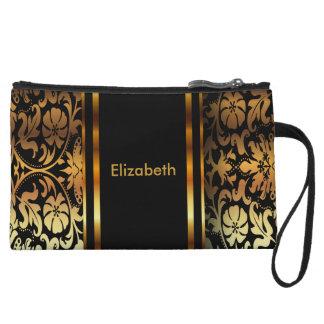 Elegant Gold and Black Floral Damask Wristlet