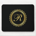 """Elegant Gold and Black Medallion Monogram Mouse Pad<br><div class=""""desc"""">A beautiful elegant gold and black medallion with script monogram add a custom look for your home or office. Insert your desired monogram in place of the sample monogram shown in the design template. If you need to re-center your monogram, select the &quot;customize it&quot; button and you can move the...</div>"""