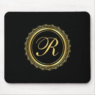 Elegant Gold and Black Medallion Monogram Mouse Pad
