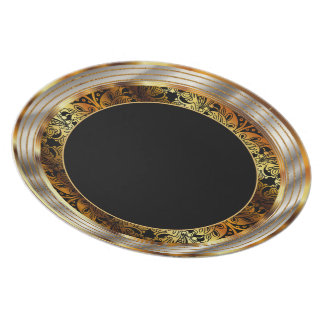 Elegant Gold and Black Paisley Melamine Plate