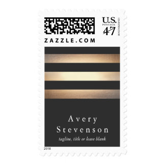 Elegant Gold and Black Striped Designer Postage