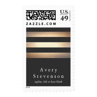 Elegant Gold and Black Striped Designer Postage Stamp