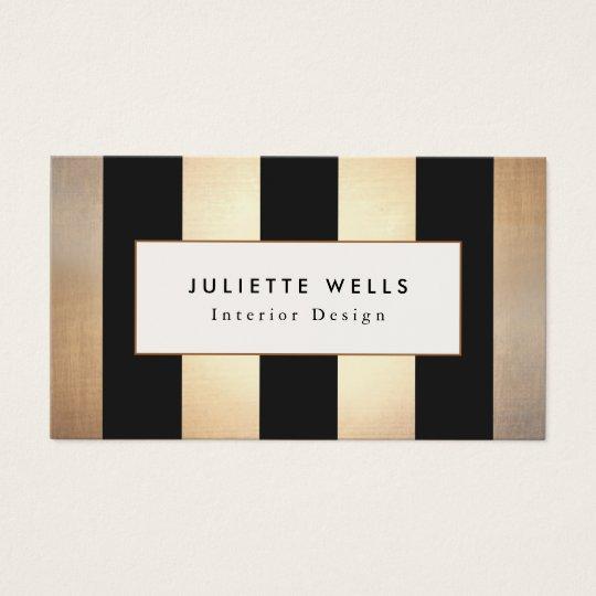 Interior Design Business Cards elegant gold and black stripes interior designer business card