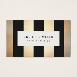Elegant Gold and Black Stripes Interior Designer Business Card