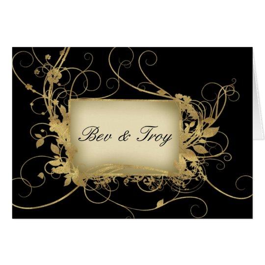 Elegant gold and black swirl design - customize it card