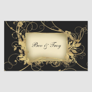 Elegant gold and black swirl design - customize it rectangular sticker