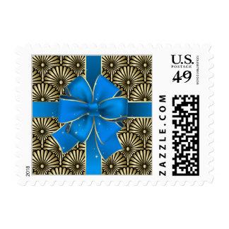 Elegant Gold and Blue Bow Postage - SRF