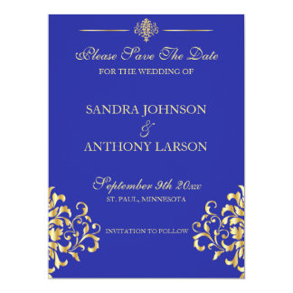 Elegant Gold and Blue Damask Save The Date Card