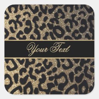 Elegant Gold and Blue Leopard Print Square Sticker
